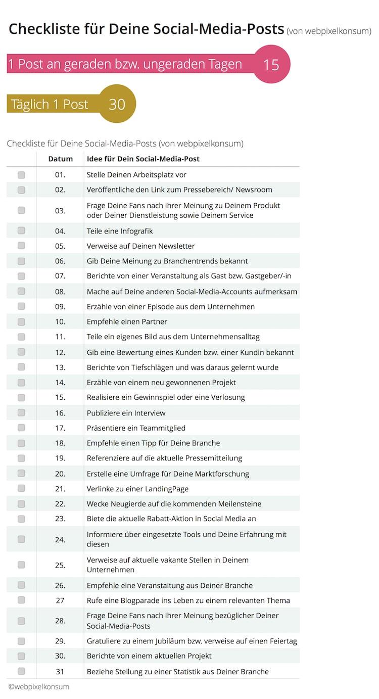 Checkliste für Deine Social-Media-Posts by webpixelkonsum