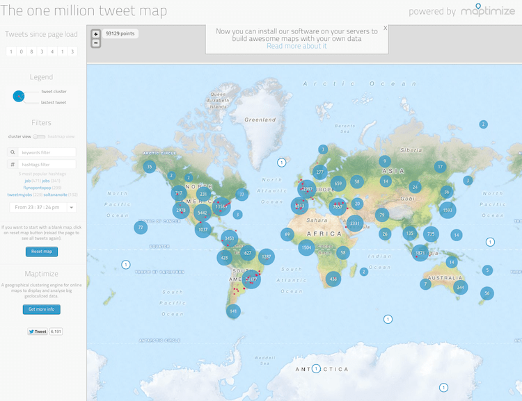 Dienst zum Visualisieren von Twitter The-one-million-tweet-map