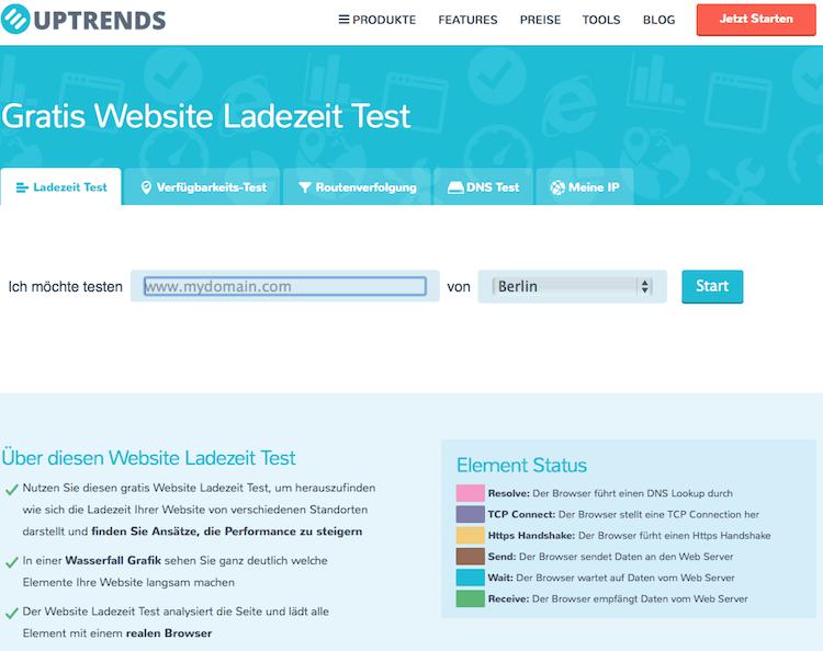 Ladezeit für Blogs testen mit UPTrends