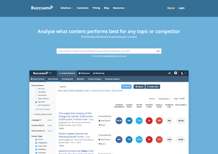 Screenshot der Startseite von BuzzSumo - Find the Most Shared Content and Key Influencers by webpixelkonsum