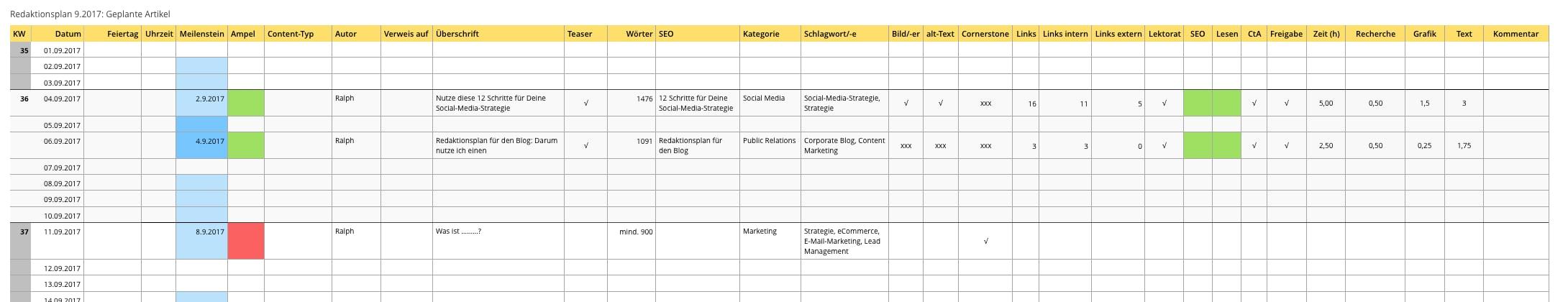 Aufbau Redaktionsplan für Corporate Blog von webpixelkonsum - Redaktionsplan für den Blog by webpixelkonsum