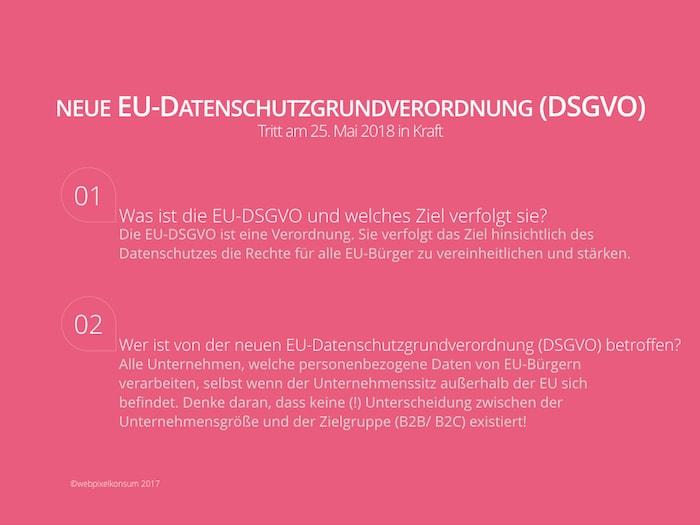 Neue EU-DSGVO 2017 von webpixelkonsum - EU-DSGVO, Marketing und PR: Zahlreiche Herausforderungen inkl. Infografik