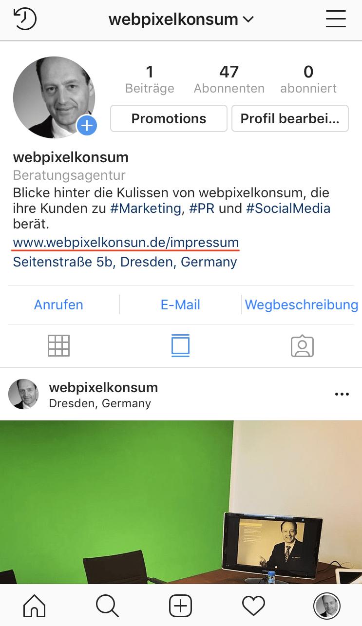 Instagram-Business-Account von webpixelkonsum - Social Media und das Impressum: Achte darauf!
