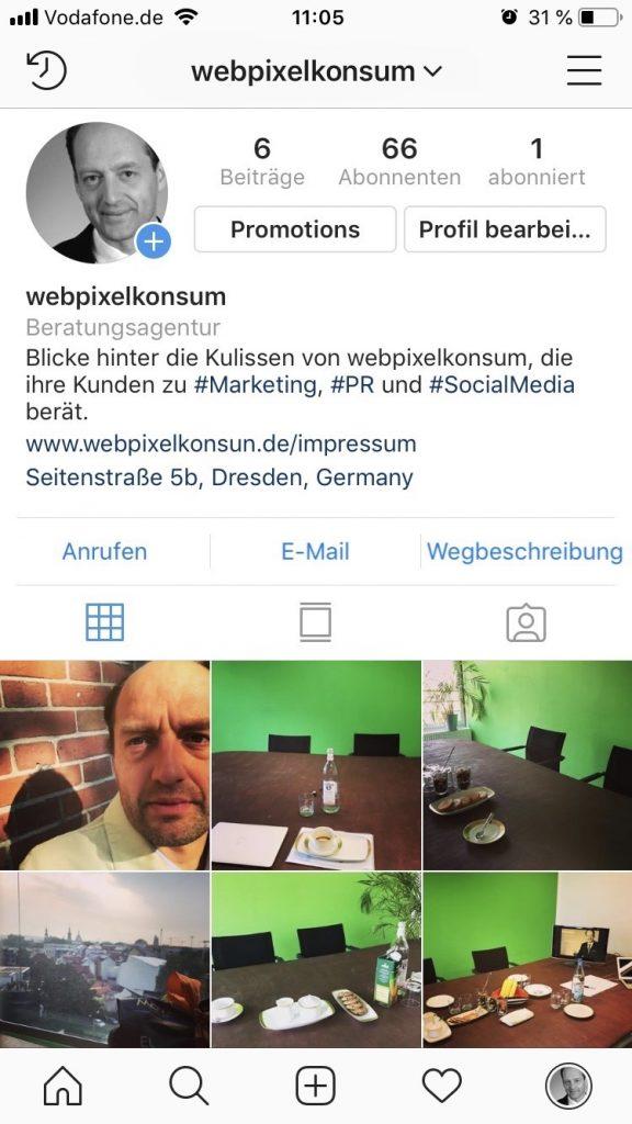 Instagram-Business-Account von webpixelkonsum (Marketing-, PR- und Social-Media-Beratung für Unternehmer) - Instagram für Unternehmen: Fakten und Tipps