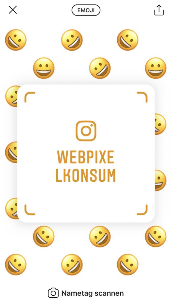 Instagram-Nametag von dem Instagram-Business-Account webpixelkonsum - Instagram Nametags: Die Bedeutung und seine Erstellung