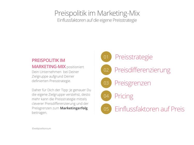 Infografik zeigt Preispolitik im Marketing-Mix und die Einflussfaktoren auf die Preisstrategie von webpixelkonsum