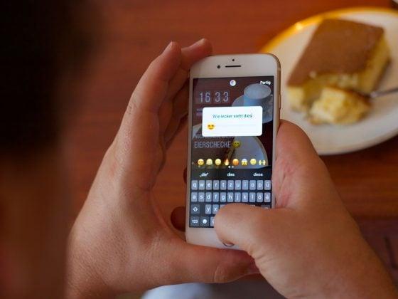 Abbildung zeigt das Erstellen einer Instagram Story für Business