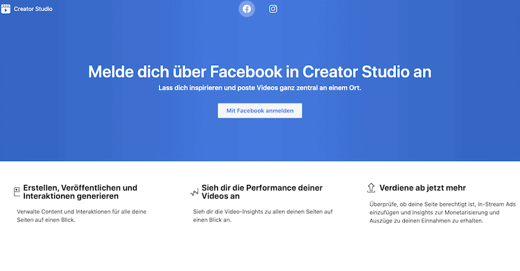 Abbildung zeigt die Webseite von Facebook zum Anmelden über Facebook in Creator Studio