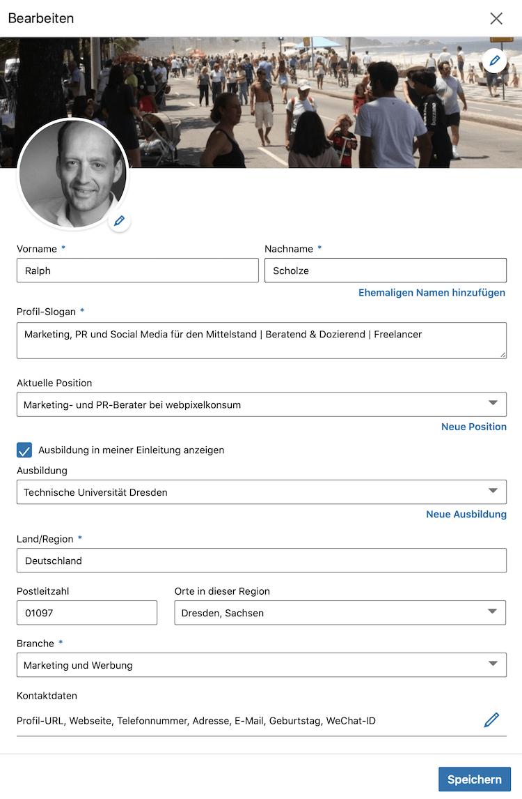 Die Abbildung zeigt LinkedIn Profil bearbeiten von Ralph Scholze
