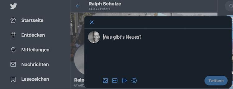 Abbildung zeigt für die Webversion auf Twitter einen Tweet, in dem ein Video hochgeladen werden kann.
