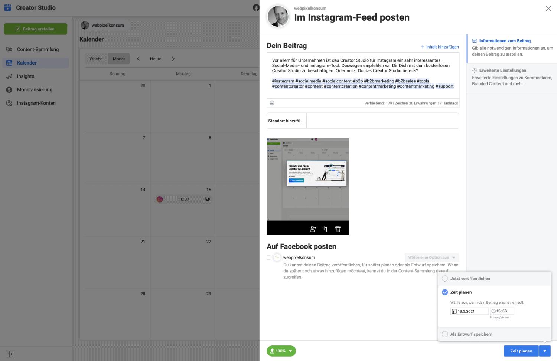 Diese Abbildung zeigt das Planen von Posts für Instagram im Creator Studio.