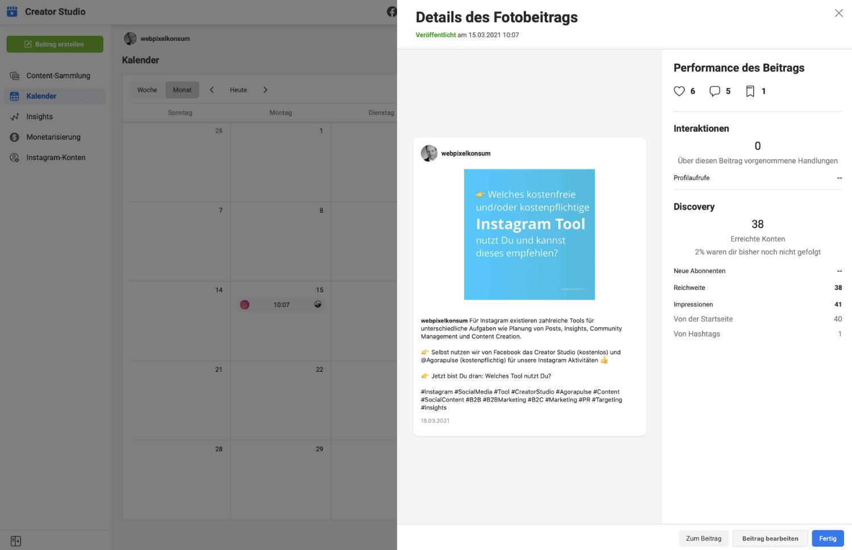 Im Creator Studio für Instagram finden sich die Insights und die nachträgliche Bearbeitungsmöglichkeit