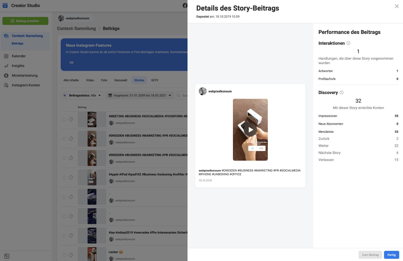 Diese Abbildung zeigt Details von einem Story-Post im Creator Studio.