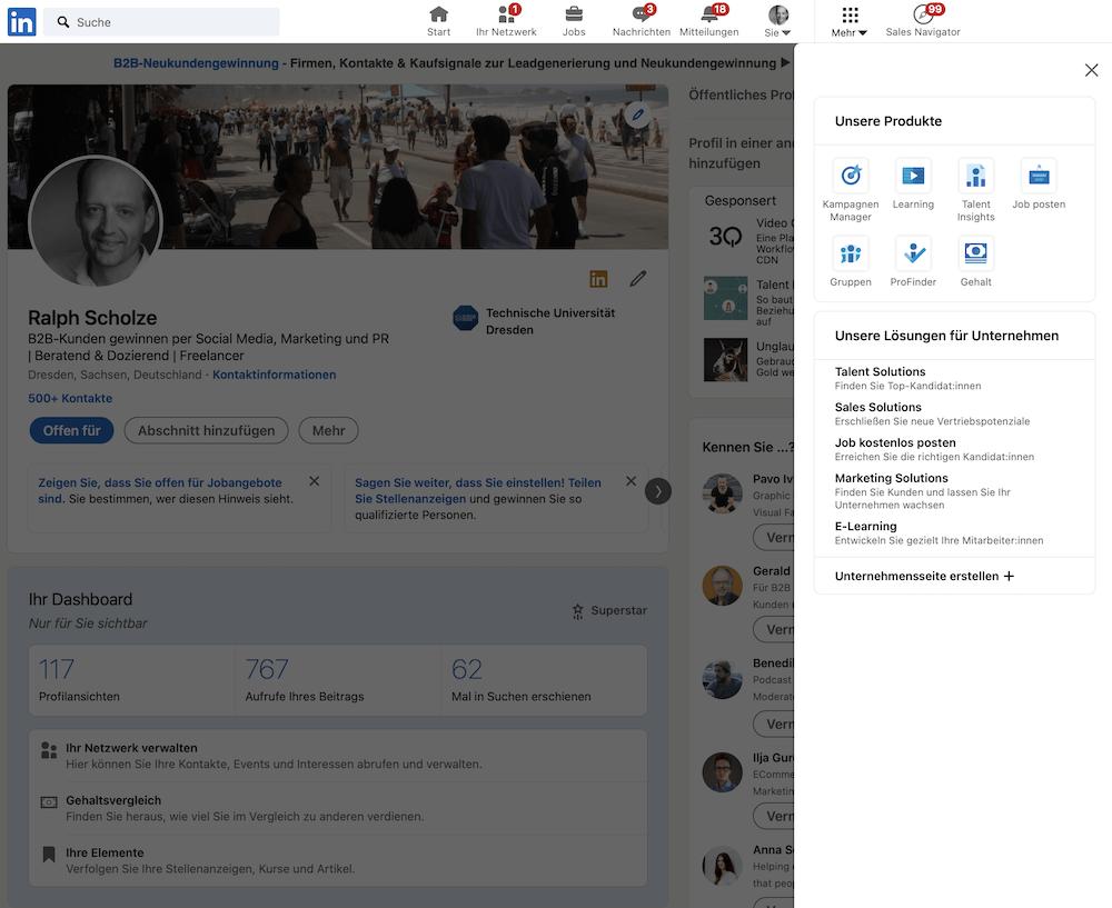 LinkedIn Unternehmensseite erstellen vom LinkedIn Profil aus: Schritt 1